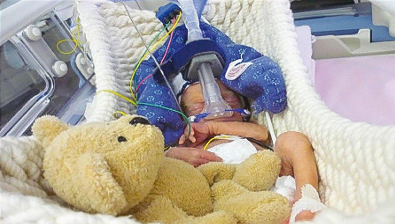 Ein Baby schläft im Inkubator Babyschwinger